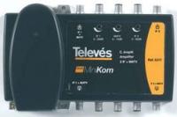 Усилитель Televes 537201 MiniKom 1 вход МВ - ДМВ, (7+1) выходов